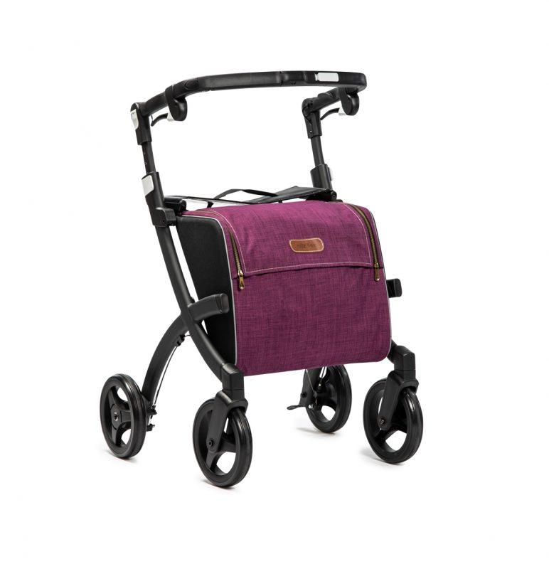 Rollz Flex Andador y Carro de la Compra Negro con bolso Granate