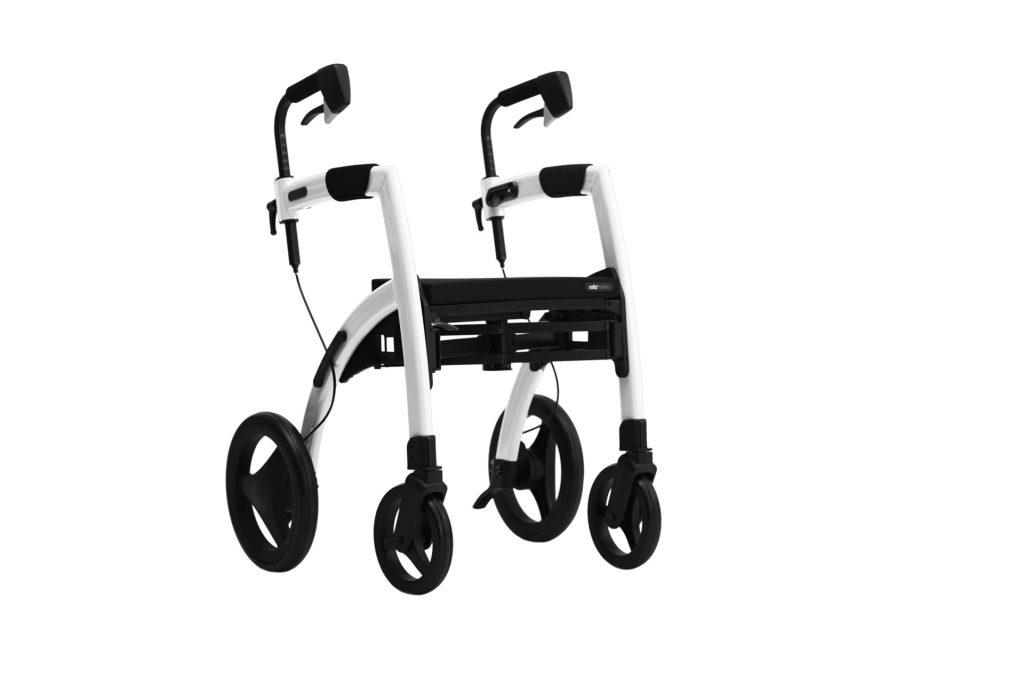 Andador con asiento que se convierte en silla de ruedas color blanco