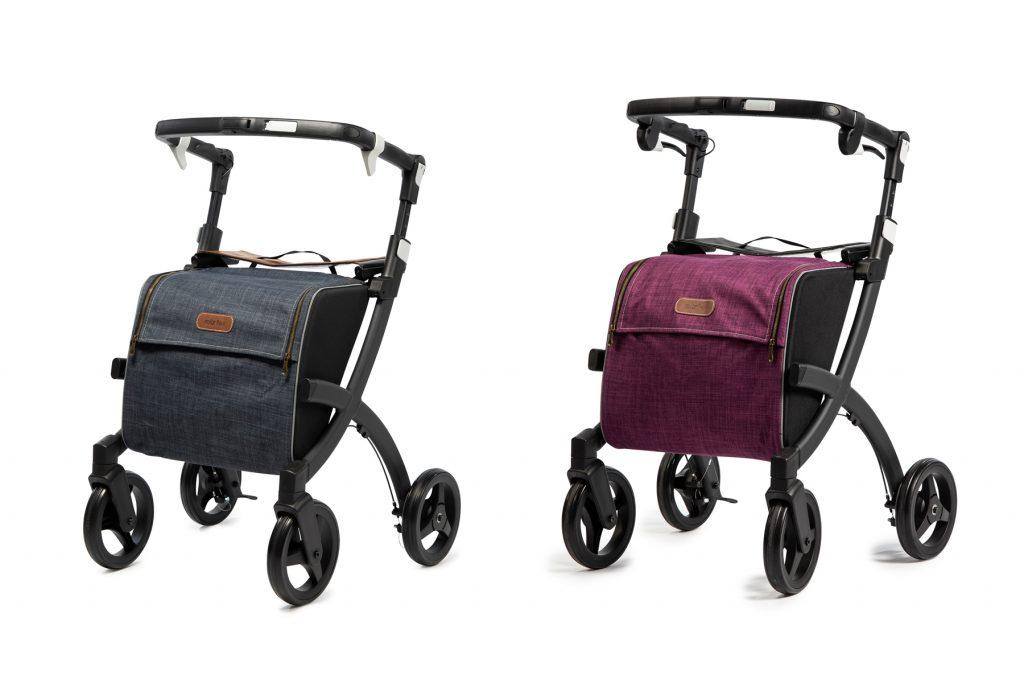 Dos andadores Rollz Flex con marco Negro y bolso de diferente color