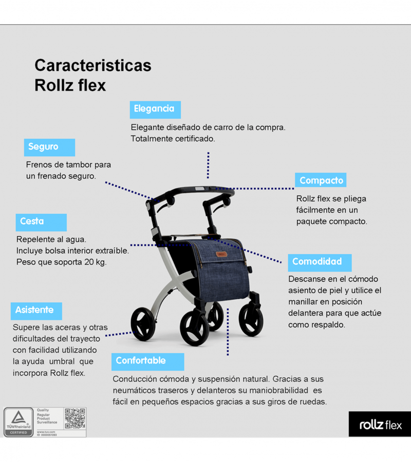 Cuadro características con imagen Andador Rollz Flex